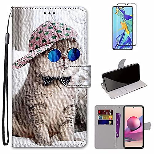 MUTOUREN Funda para Samsung Galaxy A32 4G con Protector de Pantalla, Carcasa PU Cuero Flip Folio Cover Wallet Case Anti-rasguños Protectora Bolsillo Carteras - Gato Genial