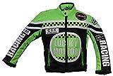 MDM Kinder Motorrad Jacke, Bikerjacke, Racing Jacke grün, (XL)