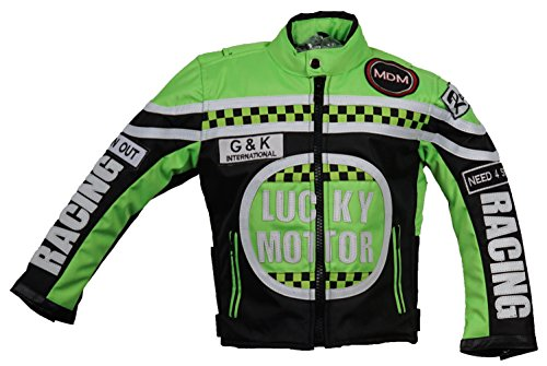 MDM Kinder Motorrad Jacke, Bikerjacke, Racing Jacke grün, (3XL)