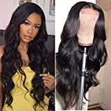 Amella Hair Lace Front Wigs Human Hair Body Wave Lace Front Human Hair Wigs Pre Plucked 4X4 Lace Closure Wigs with Baby Hairs Natural Color(16inch)