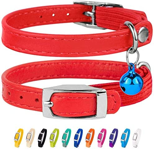 CollarDirect Leather Cat Collar Cat Safety Collar with Elastic Strap Kitten Collar for Cat with product image