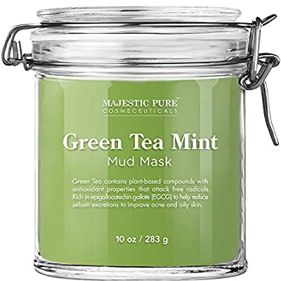 Majestic Pure Green Tea Mint Mud Mask - Exfoliating Facial Face and Skin Mask for Blackhead and Acne - Rich in Antioxidant, Fight Free Radicals, 10 oz