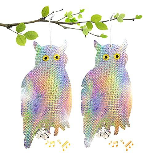 LOVEXIU Búho Espantapajaros 2 Pcs,Búho Repelente de Aves,Reflectantes Repelentes de Pájaros Búho,Disuadir Búhos Pájaros,Reflector Doble Búho para Evitar Palomas Protejan Jardines y Flores