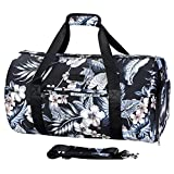 AmHoo Sports Gym Bag with Shoes Compartment and Wet Pocket with Independent Zipper Travel Duffel Bag for Women and Men(Floral Black)