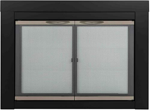 Pleasant Hearth Alsip Sunlight Nickle Fireplace Glass Doors - Small