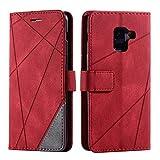Hülle für Samsung Galaxy A8 2018, SONWO Premium Leder PU Handyhülle Flip Hülle Wallet Silikon Bumper Schutzhülle Klapphülle für Galaxy A8 2018, Rot
