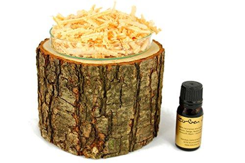 Duftset mit Bio Zirbenöl - Baumstamm aus Eiche & Glasschale & Zirbenspäne & Zirbenöl - Deko Set Stamm - 4 Teilig
