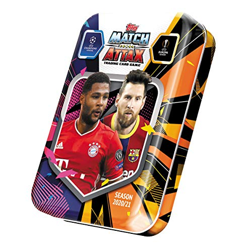 Match Attax 2020-21 Topps Champions League Cards - Haaland & Mbappe Mini Tin (45 Cards + LE Messi Card)