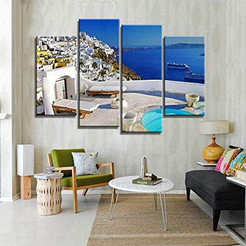 ANTAIBM® 4 Visuelle Fotos der Inneneinrichtung Holzrahmen - verschiedene Größen - verschiedene Stile4 Panel Modern Painting Home Dekorative Kunst Bild Griechenland Santorini Island Landschaft Gedruckt