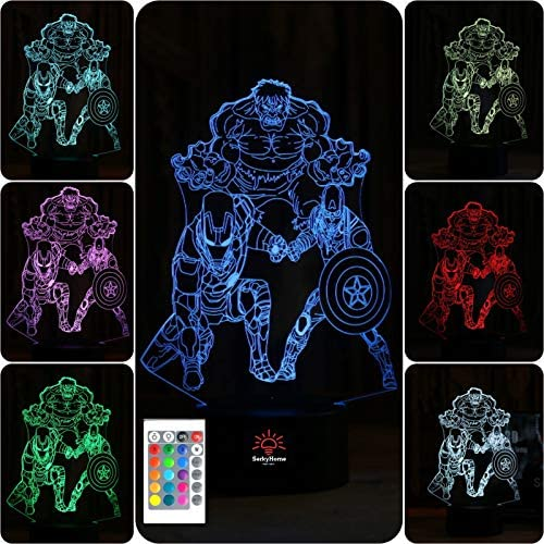 SerkyHome 3D Illusion Night Light for Boys 7 Colors with Remote Led Table Lamp Hulk Ironman product image