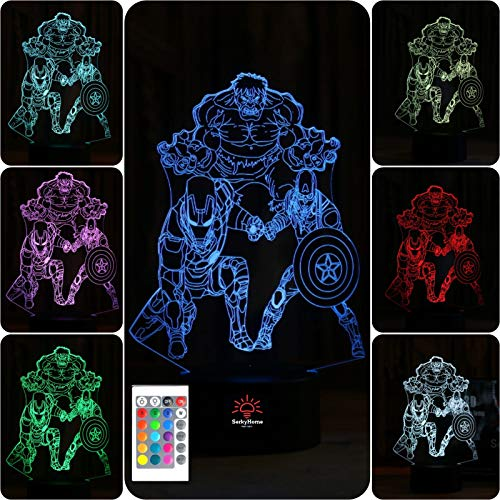 SerkyHome 3D Illusion Night Light for Boys|7 Colors with Remote|Led Table Lamp|Hulk-Ironman-Captain America(Marvel Legends)