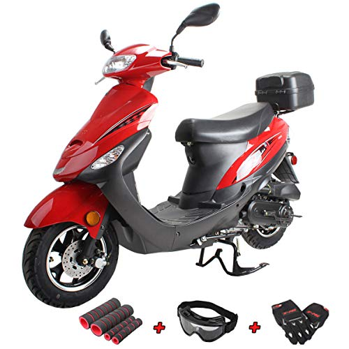 X-PRO Maui 50cc Moped Scooter Gas Moped Scooter 50cc Moped Street Scooter Aluminum Wheels(Red)