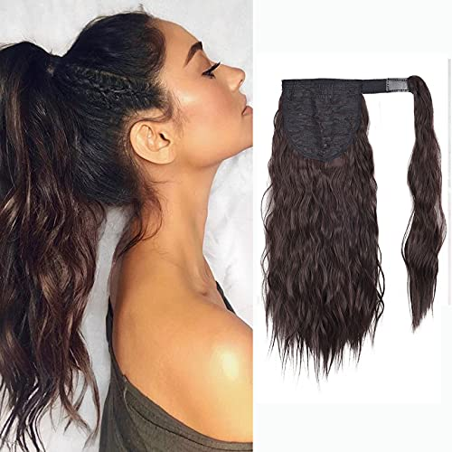 SEIKEA Clip in Ponytail Extension Wrap Around Long Wavy Curly Pony Tail Hair Fluffy Synthetic Hairpiece for Women 16 Inch - Dark Brown