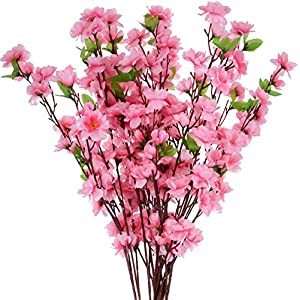 Pannow 10Pcs Spring Peach Blossom Cherry Plum Bouquet Branch Silk Flower,Artificial Flowers Fake Flower for Wedding Home Office Party Hotel Yard Decoration