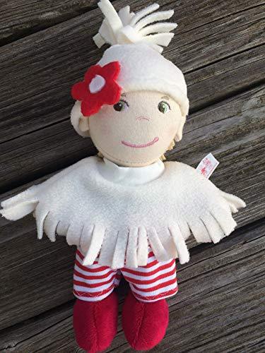 Puppenkleidung handmade passend für kleine Stoff-Puppen Gr. 20 cm Bekleidung Poncho Cape + Hose + Mütze Kleidung