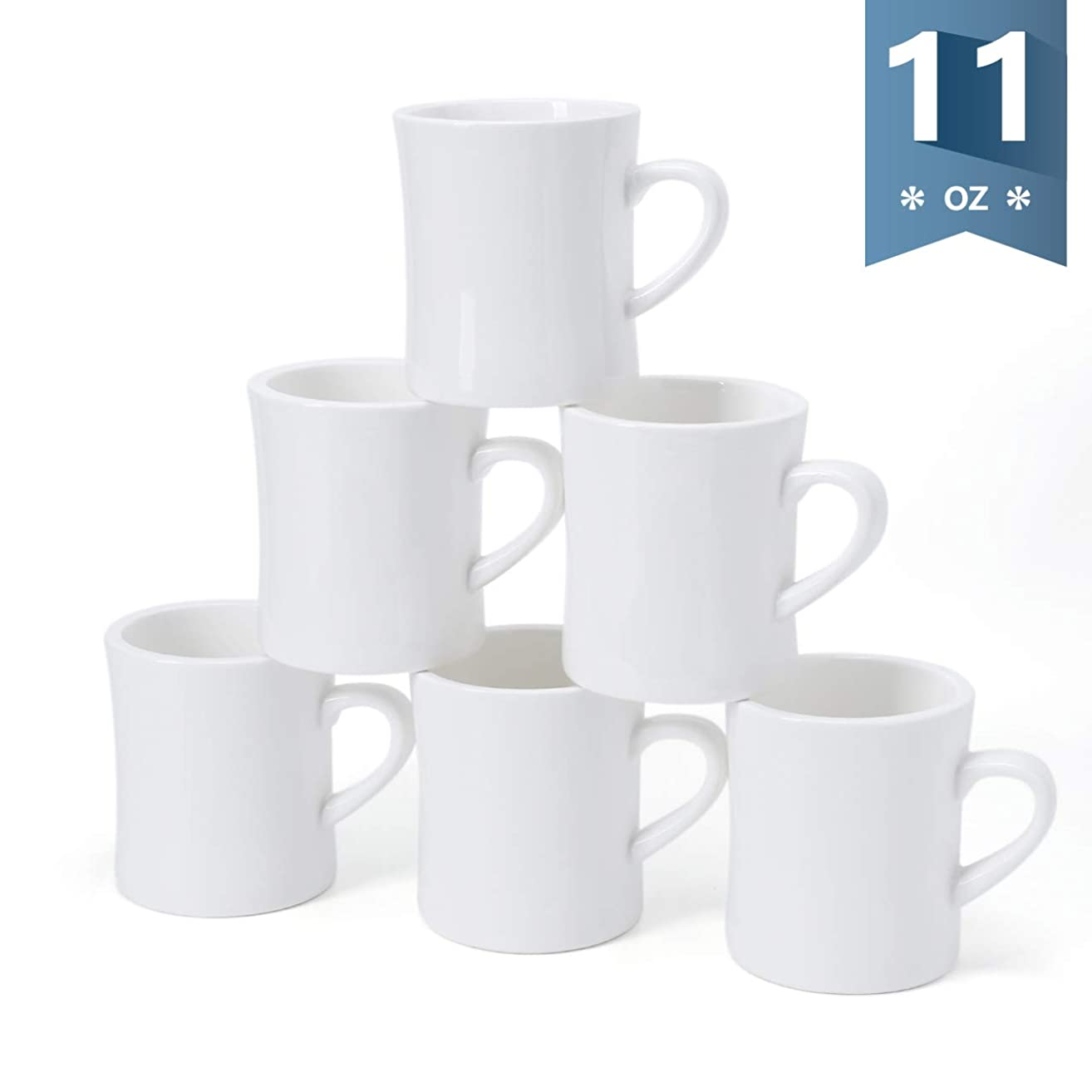 Sweese 6221 Porcelain Diner Mug Set - 11 Ounce for Coffee, Tea - Set of 6, White