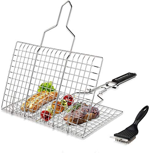 Fiamma Foldable Grill Basket – Durable Food Grade Stainless Steel Portable Grilling Basket for Fish, Meat, Vegetables, shrimp and seafood. Barbecue Basket with Removable Handle. Additional Grill Brush
