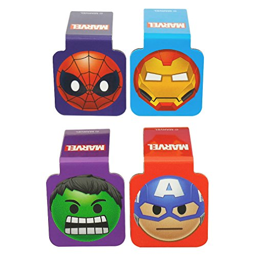 Ata-Boy Marvel Comics Superheroes Emojis Set of 4 1' Magnetic Page-Top Bookmarks