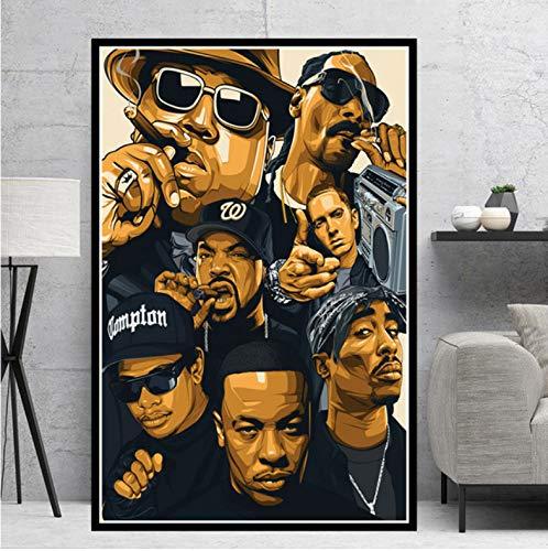 Wandkunst Bild Poster Hip Hop Rap Star Poster Drucke Legend Star Collage Leinwand Ölgemälde Kunst Wandbilder Wohnzimmer Wohnkultur 50X70 cm Ohne Rahmen