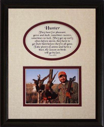 8x10 BIRD HUNTER Picture & Poetry Photo Gift Frame ~ Cream/Burgundy Mat with BLACK Frame ~ PHEASANT/DUCK/GOOSE Keepsake Gift for a Bird Hunter