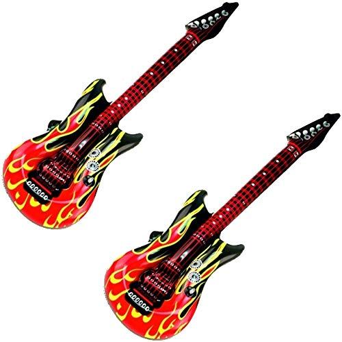 marion10020 Aufblasbare Luftgitarren Luftgitarre Air Luft Guitar, im Feuer-Design, 100 cm, 2er-Set