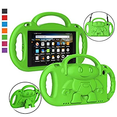 """LTROP Fire HD 8 Tablet Case, Fire 8 2018 Case for Kids - Shock Proof Handle Friendly Stand Child-Proof Case for Fire 8"""" Display Tablet Bumper Cover (2017&2018 Release) Not for 2020 Fire HD 8 - Green"""