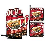 Juego de 4 manoplas para horno y soportes para ollas,letrero retro de chapa de café en el interior de la cafetería roja,material promocional,taza y frijoles vintage