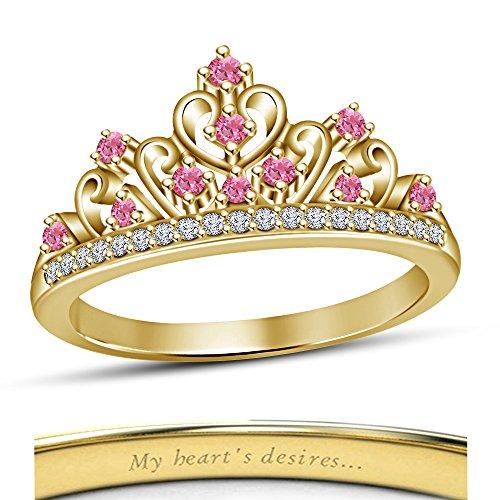 La moda de la princesa de Disney Aurora Vorra multi-piedra anillo 925 plata 14 K oro amarillo plateado