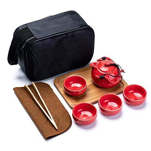 Thé, Kung Fu à thé en céramique Portable Teapot PORTIER Voyage, Service de thé Chinois avec Plateau en Bois du thé, for Cadeau et à la Maison (Couleur : Red)