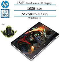 """2020 Newest HP x360 2 in 1 15.6"""" HD Convertible Touchscreen Laptop, Intel i5-8265U, 16GB RAM, 512GB SSD, 2 Year Accidental Damage Protection, HDMI, 10 Hours Battery, Win 10 W/Ghost Manta Gaming Mouse"""
