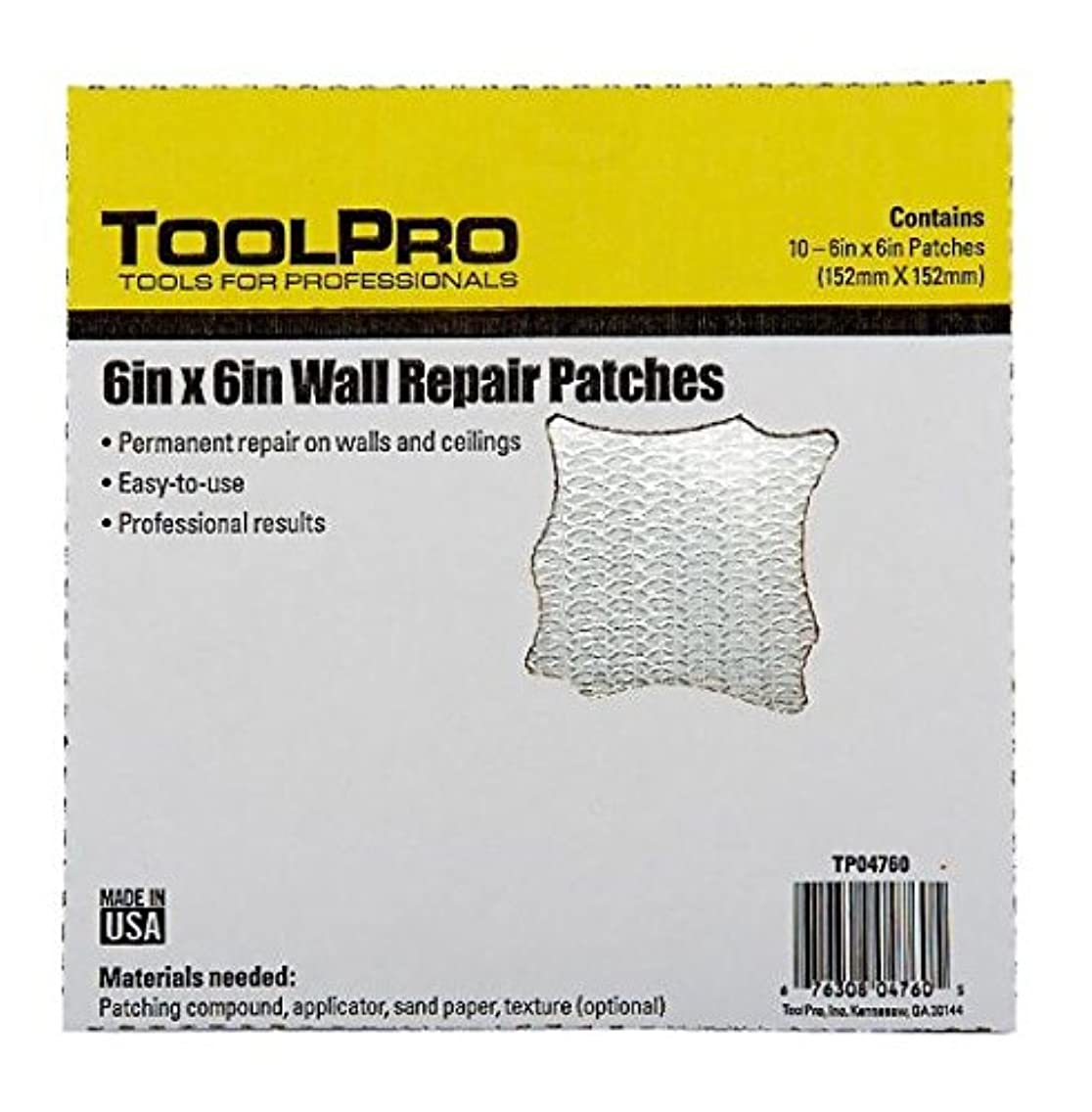 TOOLPRO 6 x 6 Wall Repair Patches, 10 Pack