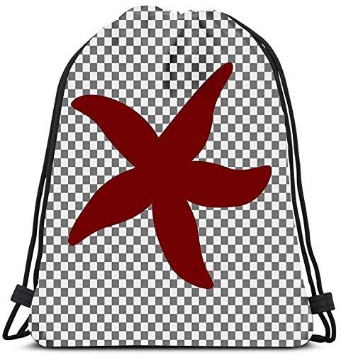 N / A Mochila con cordón Sea Star Sign Maroon Icon Transparente Yoga Runner Daypack Bolsas para Zapatos 36 x 43cm / 14.2 x 16.9 Pulgadas