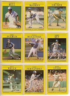 Toronto Blue Jays 1991 Fleer Baseball Team Set (George Bell) (Fred McGriff) (Kelly Gruber) (John Olerud) (Rance Mulliniks) (Jimmy Key) (David Wells) (Tony Fernandez) (Dave Stieb) (Derek Bell) (Tom Henke) (Pat Borders) (Todd Stottlemeyer)