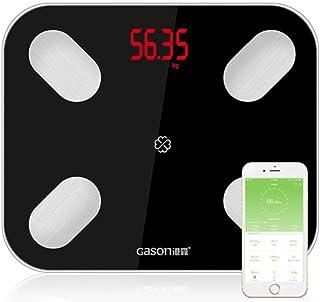 Báscula corporal Báscula de piso Piso Científico Inteligente Electrónico Led Peso digital Baño Equilibrio Aplicación Bluetooth Aplicación Android o Ios,Black