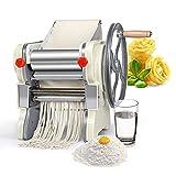 HAOGUO Máquina para Hacer Pasta, máquina para Hacer Fideos con Rodillo para Pasta, Cortador de Fideos, máquina de Prensa de Fideos de 2 Cuchillas para el hogar y Comercial