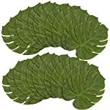 Blue Panda 24 Pieces Artificial Palm Leaves - Large 13.7 x 11.5 Inches Tropical Monstera Leaf for Luau Hawaiian Birthday Party Decorations, Safari Jungle Baby Shower
