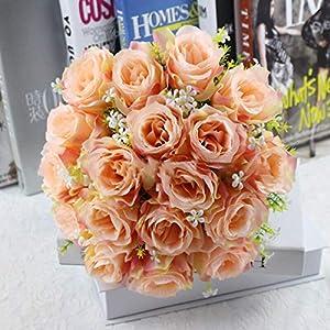 Artificial and Dried Flower 18 Heads Home Table Decor Artificial Rose Bouquet Silk Gypsophila Flowers Bunch Wedding Valentine'sRose Babysbreath Flower