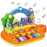 COSTWAY Babyspielzeug Klavier, Musikspielzeug mit integriertem Musikmodi und Tierfamilie, Spielzeug Keyboard, Baby Klaviertastatur für Kleinkinder ab 10 Monaten