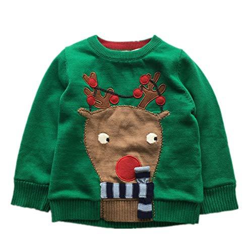 SDJMY Maglione di Natale Abiti Invernali Ragazzi Ragazze Abbigliamento per Bambini Renna Verde Carino Maglione SpessoVestiti per Bambini di Natale