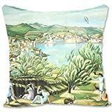 BONNIU Funda Decorativa Cojin con Cremallera 45X45 cm Protectores Almohada Terciopelo Paisaje Art - Dali - Cadaques I
