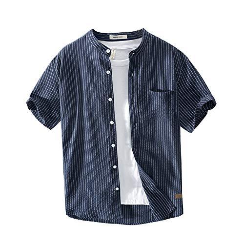 Camisa de Cuello Alto para Hombre Camisa de Manga Corta con Estampado de Rayas Slim Fit Camisa de Estilo japonés Retro Casual de un Solo Pecho Large