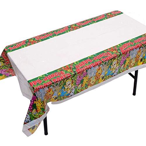 DIWULI, Mantel rectangular de 180 x 108 cm con diseño de animales de la jungla, mantel desechable, mantel de plástico lavable para cumpleaños de niños, fiestas, decoración, animales y bosque