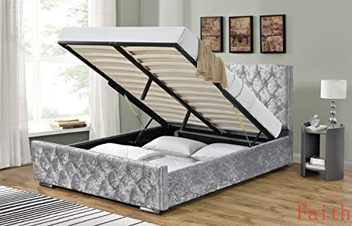 Arya Silver Crushed Velvet Ottoman Storage Bed w/Diamante Buttons in Head and Footboard. (Single, Double & King) (Double 4FT 6)