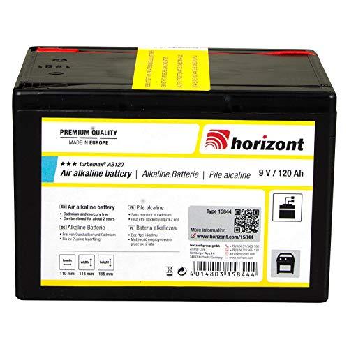 horizont Alkaline-Batterie turbomax AB120, Trockenbatterie 9 V / 120 Ah, für Weidezaungerät 9V geeignet, Batterien für Weidezaun, optimale Gerätefunktion, hoher Spannungsverlauf