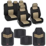 BDK Two-Tone PolyCloth Car Seat Covers Full Set Combo with Motor Trend Dual-Accent Heavy Duty Rubber Floor Mats, Black & Beige – Universal Fit for Car Truck Van SUV