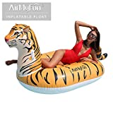 """AirMyFun Inflatable Tiger Pool Raft Tiger Float Water Fun Summer Beach Swimming Pool Float Tubes Inflatable Ride on Pool Party Raft for Adult 79"""" x 39"""" x 39"""""""