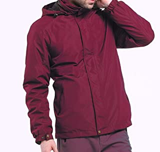 Spring and Autumn Men's Jacket Jacket, Hooded Single Layer Thin Four Seasons Waterproof Large Size Mountaineering Jacket Outdoor Workwear