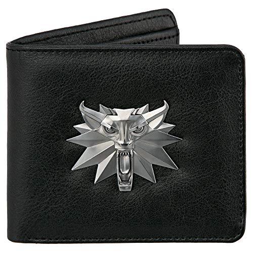 JINX Unisex-Erwachsene The Witcher 3: White Wolf Geldbeutel mit Metall-Logo schwarz, Bedruckt, aus Polyurethan, in Polybeutel Reisezubehör- Brieftasche, Multicolore, Moyen