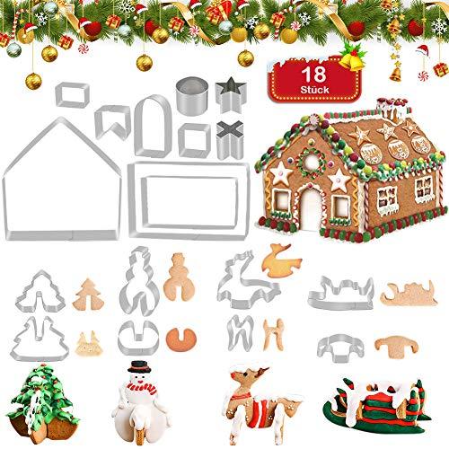 FHzytg 18 Stück 3D Weihnachten Ausstechformen Edelstahl Ausstecher Set für Keks, Plätzchen, Fondant Ausstecher Backzubehör für Weihnachten Torten Kekse Backen Küche Zubehör