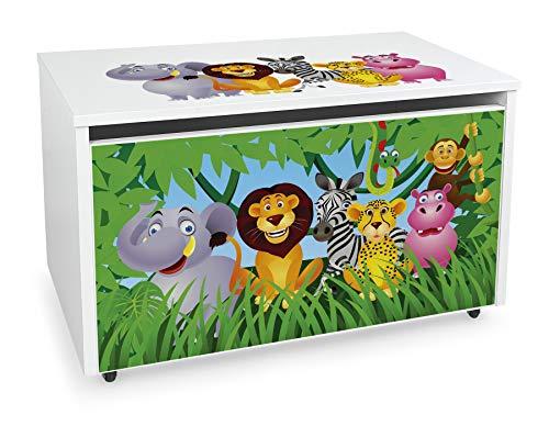 Leomark Coffre de Rangement pour Enfants - JUNGLE- Organisateur à jouets en bois, Conteneur à jouets, banc réglable, sur roulettes, Dimensions: L 71 x P 40,5 x H 45 cm